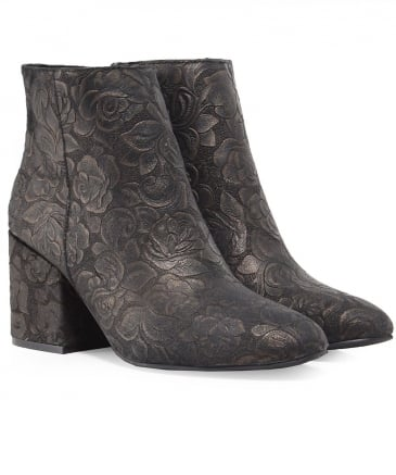 Leather Floral Baroque Boots