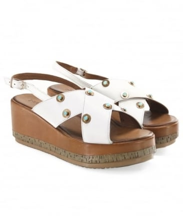 Slingback Studded Wedge Sandals