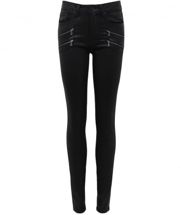 Leather Effect High Rise Jeans