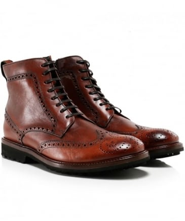 Leather Vacchetta Brogue Boots