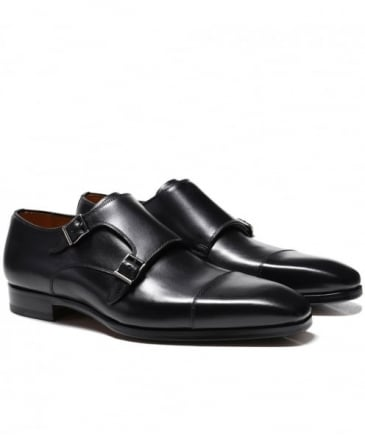 Leather Double Monk Strap Shoes