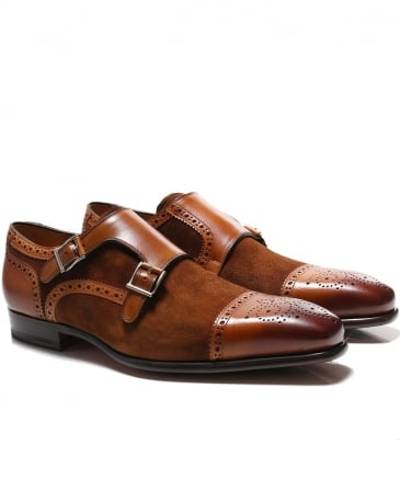 Leather & Suede Double Monk Strap Shoes