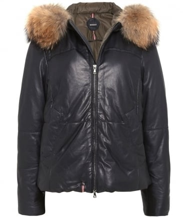 Leather Arty Fur Trim Jacket