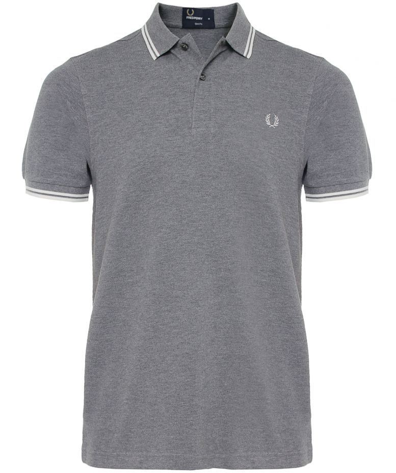 Fred Perry Light Grey Slim Fit Twin Tipped