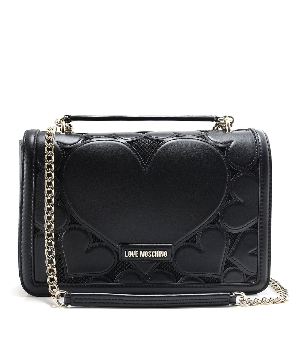 release info on details for look for Love Moschino Black Small Leather Envelope Shoulder Bag   Jules B
