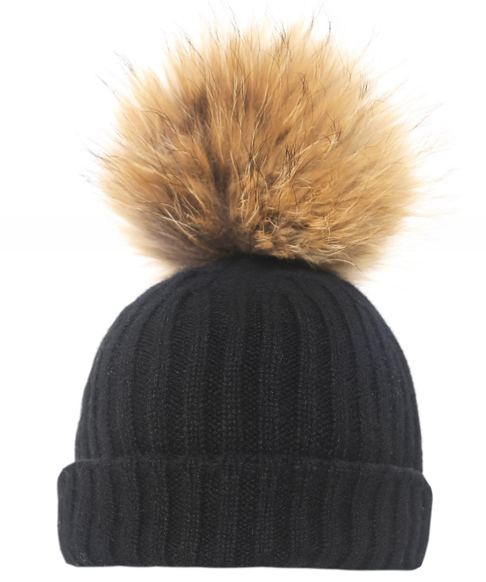 43d6bf43f40 BKLYN Women  039 s Cashmere Beanie Bobble Hat
