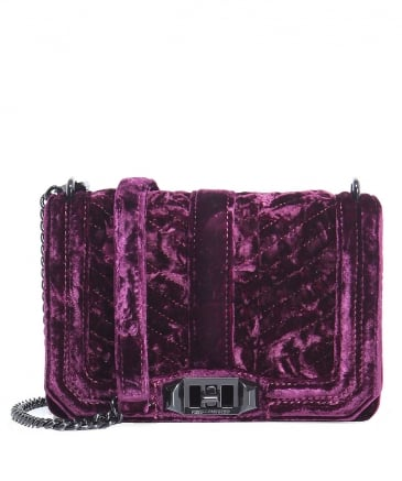 Velvet Chevron Quilted Crossbody Bag
