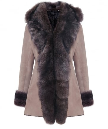 Hooded Sheepskin Waterfall Coat