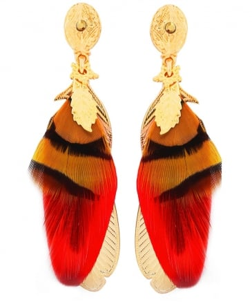 Sao Feather Drop Earrings