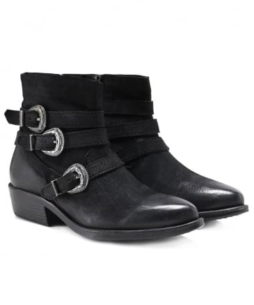 Leather Paraselene Buckle Strap Boots