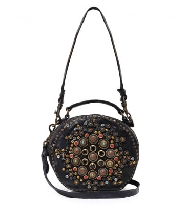 Embellished Leather Bowling Bag