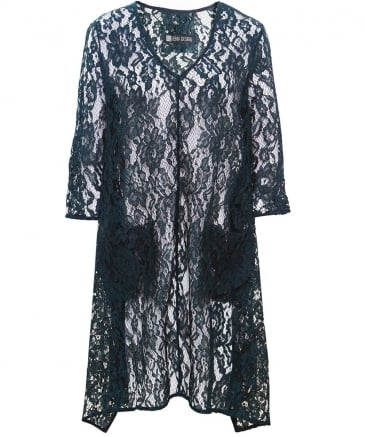 V-Neck Alys1 Lace Draped Tunic Top