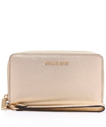 Metallic Leather Mercer Phone Wristlet