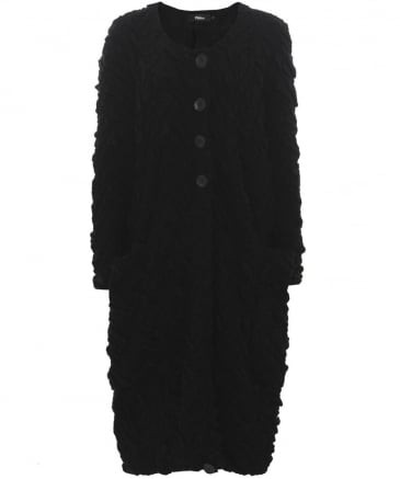 Wool Textured Knit Coat