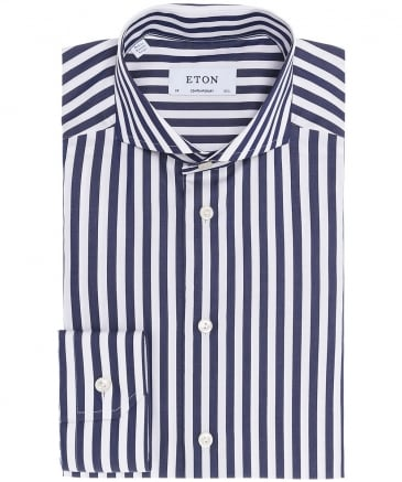 Contemporary Fit Striped Satin Shirt