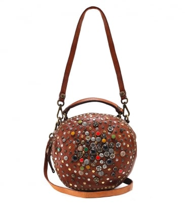 Leather Embellished Bowling Bag