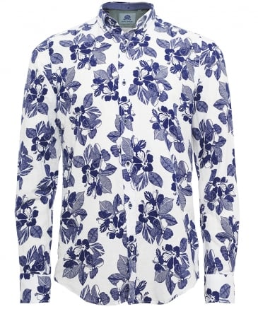 Slim Fit Linen Blend Floral Shirt