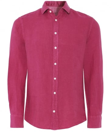 Slim Fit Garment Dyed Linen Shirt