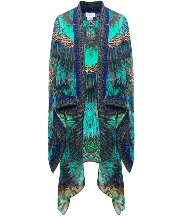 Peacock Print Draped Sleeve Jacket