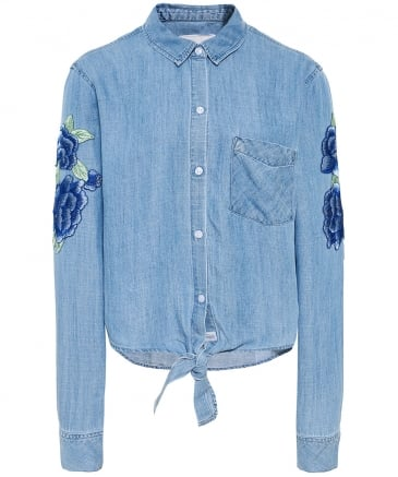 Val Floral Patch Tie Knot Shirt