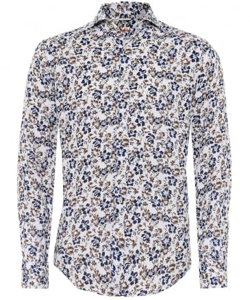 Fitted Body Linen Floral Shirt