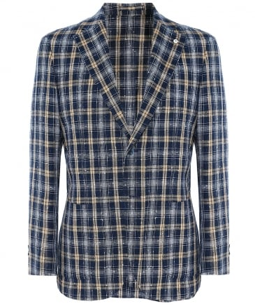 Linen Blend Textured Check Jacket