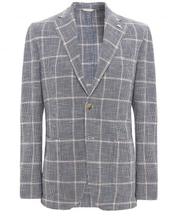 Silk Blend Houndstooth Check Jacket